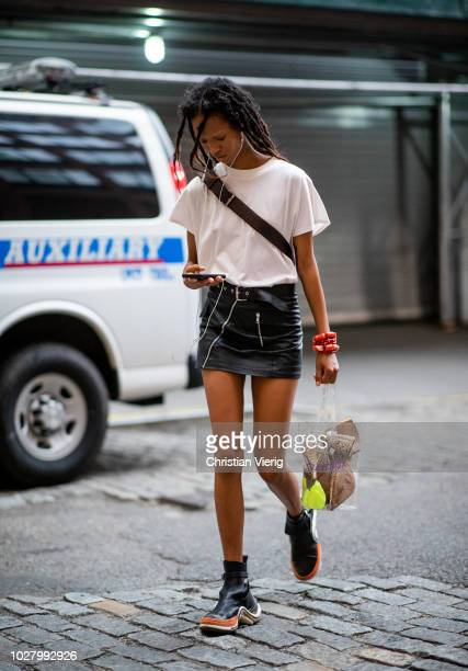 A model is seen outside Jeremy Scott during New York Fashion Week Spring/Summer 2019 on September 6 2018 in New York City