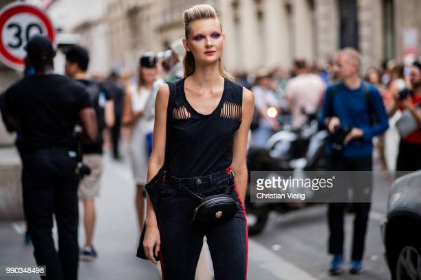 A model is seen outside Ralph Russo on day two during Paris Fashion Week Haute Couture FW18 on July 2 2018 in Paris France