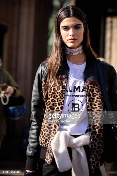 Model is seen outside Stella Jean on Day 5 Milan Fashion Week Autumn/Winter 2019/20 on February 24 2019 in Milan Italy