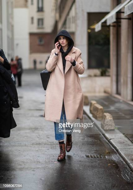 A model is seen outside Stephane Rolland during Haute Couture Spring Summer 2019 Day Two on January 22 2019 in Paris France