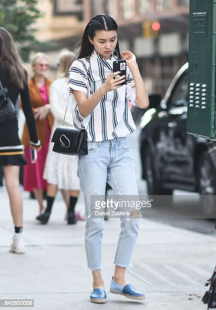 A model is seen outside the 31 Phillip Lim show during New York Fashion Week Women's S/S 2018 on September 11 2017 in New York City