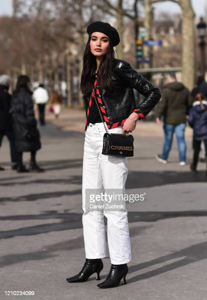 Model is seen outside the Chanel show during Paris Fashion Week: AW20 on March 03, 2020 in Paris, France.