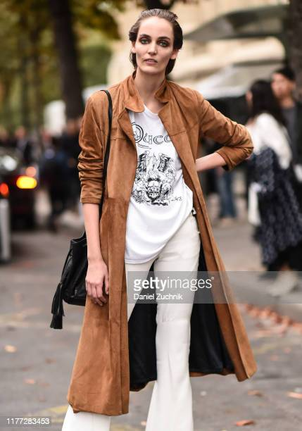 A model is seen outside the Chloe show during Paris Fashion Week SS20 on September 26 2019 in Paris France