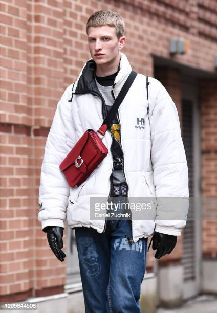 Model is seen outside the Coach 1941 show during New York Fashion Week: A/W20 on February 11, 2020 in New York City.