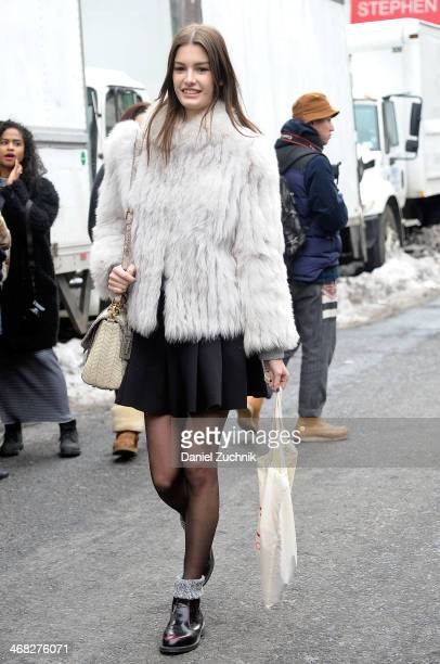 Model is seen outside the DKNY show on February 9, 2014 in New York City.