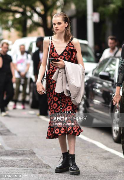 Model is seen outside the Gabriella Hearst show during New York Fashion Week S/S20 on September 10, 2019 in New York City.