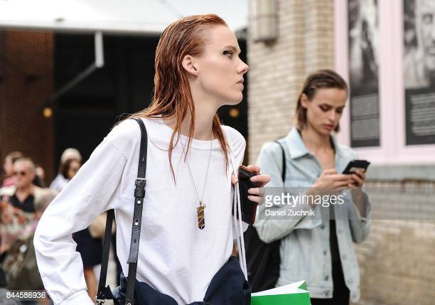 A model is seen outside the Jason Wu show during New York Fashion Week Women's S/S 2018 on September 8 2017 in New York City