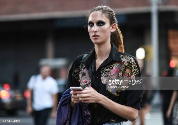 Model is seen outside the R13 show during New York Fashion Week S/S20 on September 07, 2019 in New York City.