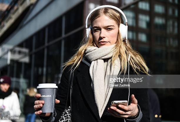 A model is seen outside the Tibi show during New York Fashion Week Women's Fall/Winter 2016 on February 13 2016 in New York City
