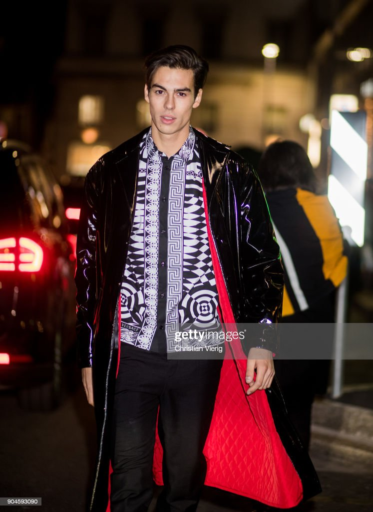 A model is seen outside Versace during Milan Men's Fashion Week Fall/Winter 2018/19 on January 13, 2018 in Milan, Italy.