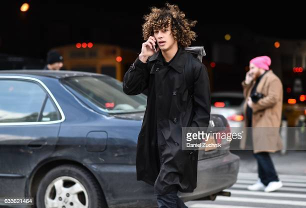 A model is seen wearing a black jacket outside of the STAMPD show during New York Fashion Week Men's AW17 on February 2 2017 in New York City