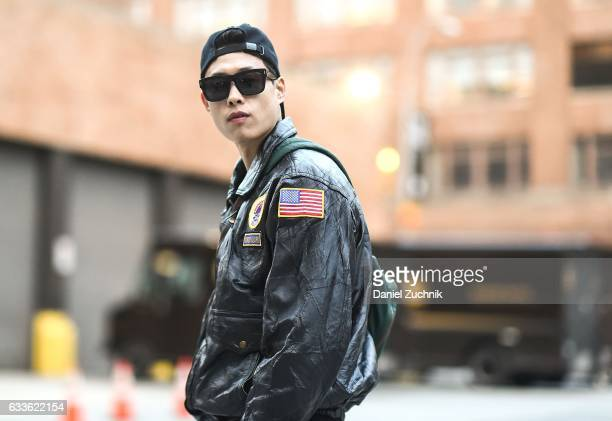 A model is seen wearing a black patched leather jacket outside of the General Idea show during New York Fashion Week Men's AW17 on February 2 2017 in...
