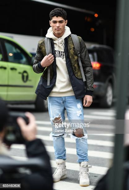 A model is seen wearing a camo leather jacket outside of the Nautica show during New York Fashion Week Men's AW17 on February 1 2017 in New York City