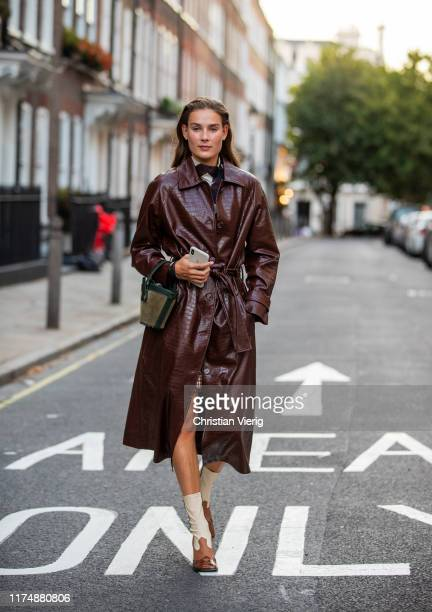 A model is seen wearing brown coat outside Rejina Pyo during London Fashion Week September 2019 on September 14 2019 in London England