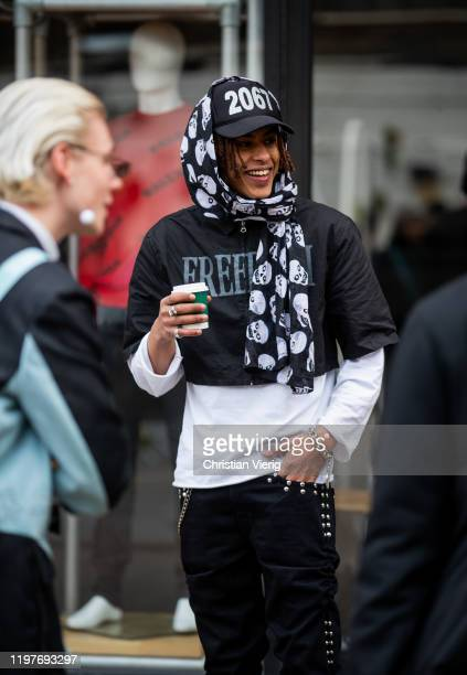 A model is seen wearing cap during London Fashion Week Men's January 2020 on January 05 2020 in London England