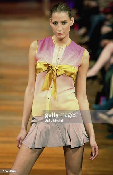 A model is seen wearing the latest designs by Mathew Williamson at the Signet Library during the Edinburgh International fashion festival April 29...