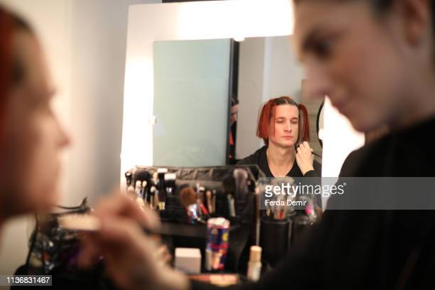 A model is stxy backstage ahead the Guntas show during MercedesBenz Istanbul Fashion Week at the Zorlu Performance Hall on March 19 2019 in Istanbul...
