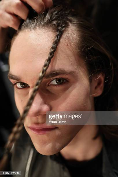 A model is styled backstage ahead the Brand Who show during MercedesBenz Istanbul Fashion Week at the Zorlu Performance Hall on March 20 2019 in...