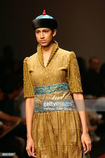 Model is walking on the ramp with Agnimitra Paul outfit at Lakme India Fashion Week2007 in Mumbai Maharashtra India