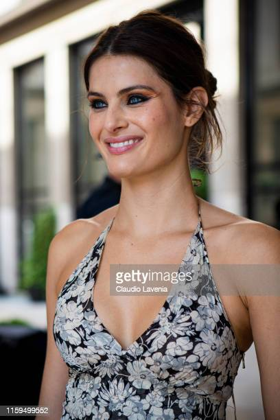 Model Isabeli Fontana, is seen outside Dondup show during Paris Fashion Week - Haute Couture Fall Winter 2019 - 2020 on July 01, 2019 in Paris,...