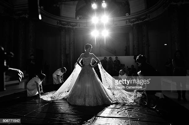 Model Isabeli Fontana walks the runway during rehearsals for the Ralph Russo Spring Summer 2016 show as part of Paris Fashion Week on January 25 2016...
