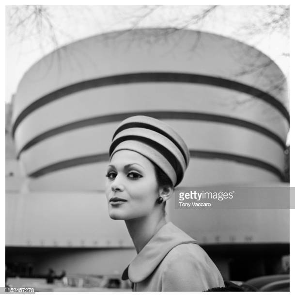 Model Isabella Albonico wearing a hat reminding the Guggenheim Museum in New York City.