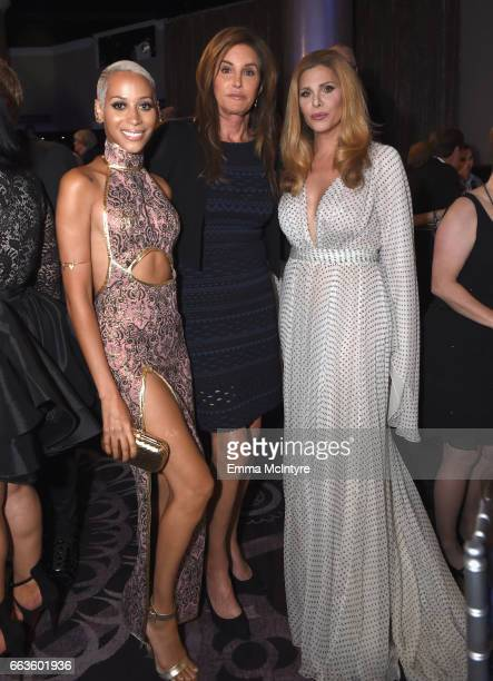 Model Isis King and tv personalities Caitlyn Jenner and Candis Cayne attend the 28th Annual GLAAD Media Awards in LA at The Beverly Hilton Hotel on...