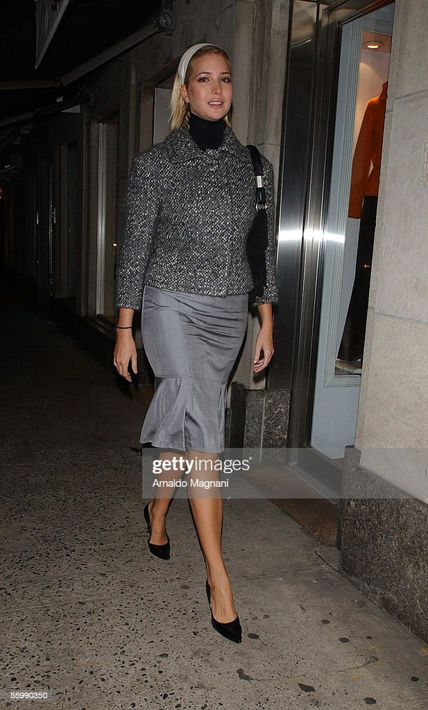 Model Ivanka Trump walks to Nello's to have dinner with her mother, Ivana Trump, October 23, 2005 in New York City.