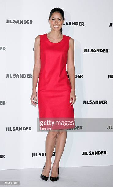 Model Izumi Mori arrives at the photocall during the Jil Sander 2012 S/S Fashion Show at the National Art Center on October 25 2011 in Tokyo Japan