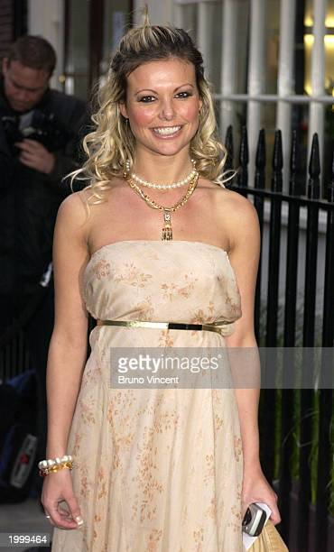 Model Jackie Degg arrives at the launch party of Daniel Galvin's new salon Venue May 14 2003 in London United Kingdom