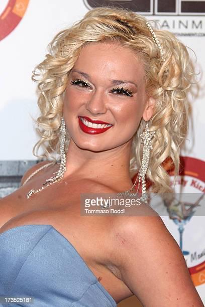 Model Jackie Delgado attends the 8th annual BTE AllStar Celebrity Kickoff Party held at The Playboy Mansion on July 15 2013 in Beverly Hills...