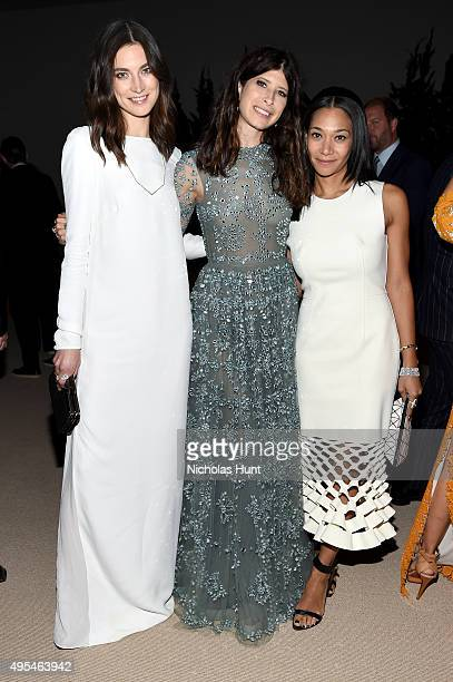 Model Jacquelyn Jablonski Pamela Love and designer Monique Pean attend the 12th annual CFDA/Vogue Fashion Fund Awards at Spring Studios on November 2...
