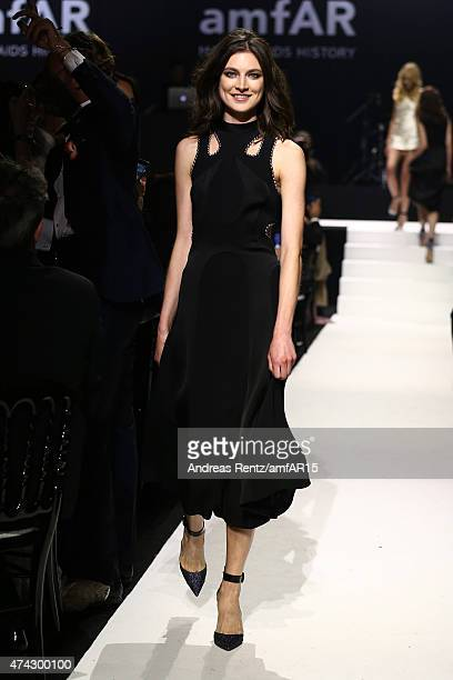 Model Jacquelyn Jablonski walks during the fashion show runway during amfAR's 22nd Cinema Against AIDS Gala Presented By Bold Films And Harry Winston...
