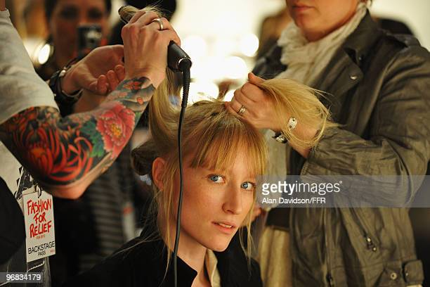 Model Jade Parfitt is getting ready backstage during Naomi Campbell's Fashion For Relief Haiti London 2010 Fashion Show at Somerset House on February...