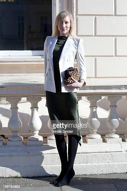 KINGDOM FEBRUARY 21 Model Jade Parfitt wearing a Roksanda Illincic dress and Lulu Guinness clutch bag street style at London fashion week...