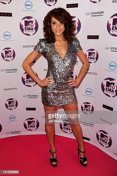 Model Jade Thompson attends the MTV Europe Music Awards 2011 at the Odyssey Arena on November 6 2011 in Belfast Northern Ireland