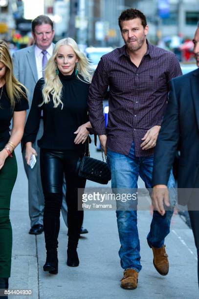 Model Jaime Bergman and actor David Boreanaz enter the The Late Show With Stephen Colbert taping at the Ed Sullivan Theater on September 26 2017 in...