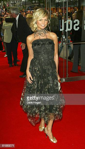 Model Jakki Degg arrives at the UK film premiere of SpiderMan 2 at the Odeon Leicester Square on July 12 2004 in London