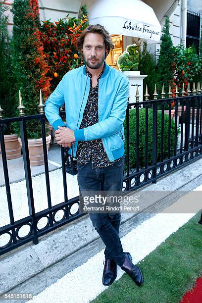 Model James Rousseau attends the Re Opening of Salvatore Ferragamo Boutique at Avenue Montaigne on July 5 2016 in Paris France