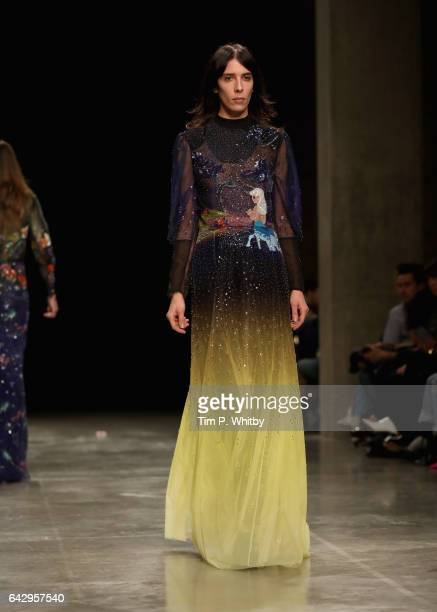 Model Jamie Bochert walks the runway at the Mary Katrantzou show during the London Fashion Week February 2017 collections on February 19 2017 in...