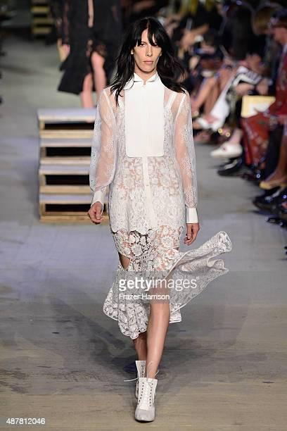 Model Jamie Bochert walks the runway wearing Givenchy Spring 2016 during New York Fashion Week at Pier 26 at Hudson River Park on September 11 2015...