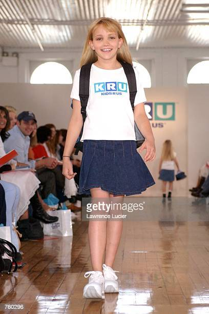 Model Jamie Lynn Spears participates in the Fall 2002 Kids R Us fashion runway show April 11 2002 in New York City Spears wears a KRU logo tee and a...