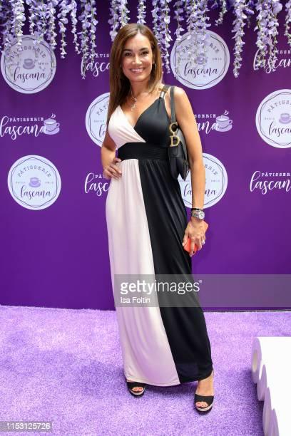 Model Jana Ina Zarrella attends the Lascana show at Titanic Hotel on July 1, 2019 in Berlin, Germany.