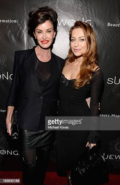 Model Janice Dickinson and actress Nadia Lanfranconi attend Sue Wong Jazz Babies Spring 2014 Runway Show on October 9 2013 in Los Angeles California
