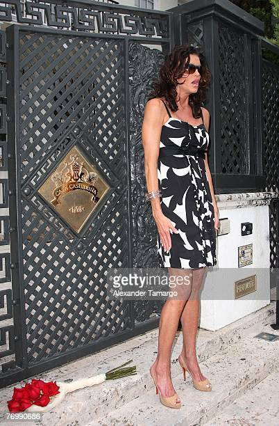 Model Janice Dickinson makes an appearance at the Versace mansion during taping for her upcoming reality TV show on September 24 2007 in Miami Beach...
