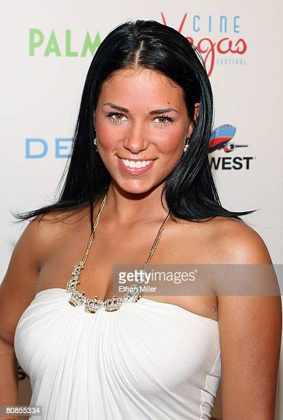 Model Janine Habeck arrives at the world premiere of the movie Deal at the Brenden Theatres inside the Palms Casino Resort April 24 2008 in Las Vegas...