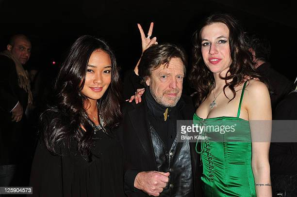 Model Jarah Mariano John Perry Barlow and Natalie White attend the Beard At Work screening party at The Chelsea Room on February 3 2011 in New York...