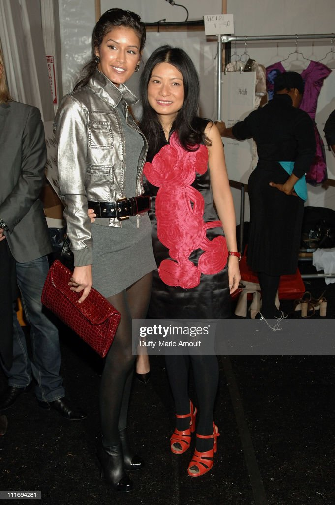Model Jaslene Gonzalez and Designer Vivienne Tam backstage at Vivienne Tam Fall 2008 during Mercedes-Benz Fashion Week at The Promenade, Bryant Park on February 5, 2008 in New York City.