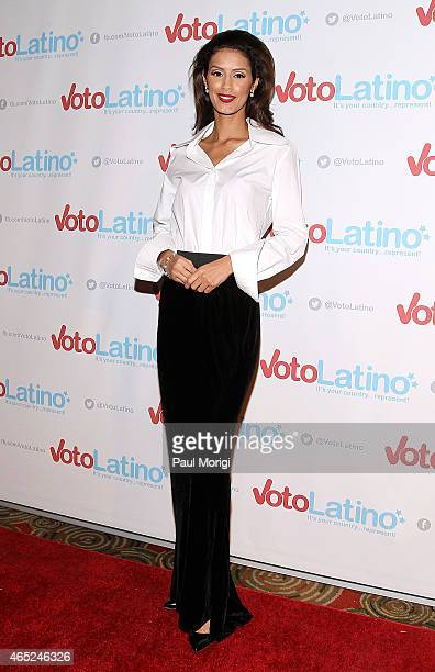 Model Jaslene Gonzalez poses for photos at Voto Latino's 10th Anniversary Celebration at Hamilton Live on March 4 2015 in Washington DC