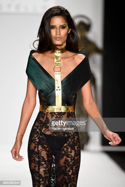 Model Jaslene Gonzalez walks the runway in a design by MT Costello at the Art Hearts fashion show presented by AIDS Healthcare Foundation during...